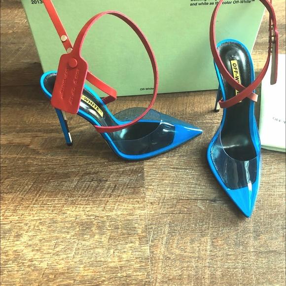 180472e4b7677 Off-White Shoes | New Off White Zip Tie Jelly Pump Blue | Poshmark